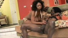 Gracious black prostitute pleasures the fat cock of her partner