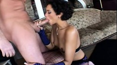 Beautiful ebony girl with small tits takes every inch of a big prick deep in her ass
