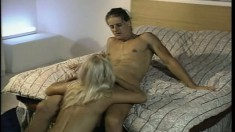 Alex Sanders eats out and fucks Natalie Spencer's wet pussy on the bed