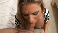 Alluring blonde milf with sexy tits delivers a deep blowjob POV style