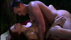 Eye-filling slattern Sarah masturbates outdoors and then gets fucked for real