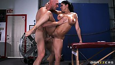 Oily babe uses her big tits and mouth to pleasure her hung man