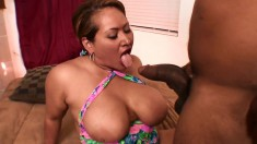 Chunky mature woman takes in a horny guy's thick black cum gun