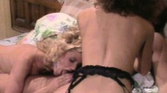 Ginger Lynn and her lesbian lover please each other and share a cock