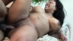 Chunky ebony babe Kandi Kream enjoys bouncing on a thick cock