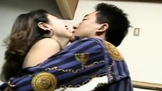 Sexy Japanese girl takes her clothes off and gets her cunt drilled