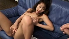 Sensual Yuzu peels off her clothes, fingers her pussy and blows a cock