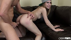 Teen blondie Mae Olson makes like a cowgirl and rides his cock hard