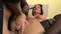 Teacher ties up his hot student and has his way with her and gives a facial