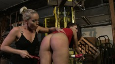 Long-haired Eye Candy Moans While Being Groped By A Hot Dominatrix