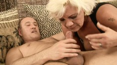 Horny blonde mommy gives a special blowjob and enjoys a hard fucking