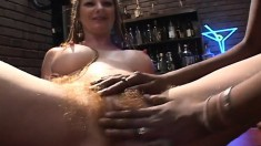 Hot Interracial Strippers Indulging In Passionate Lesbian Sex On Stage