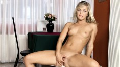 Enchanting blonde with tiny titties uses a sex toy to make herself cum
