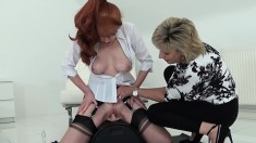 Buxom redhead mom in lingerie rides the sybian and reaches her climax