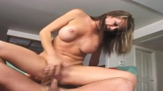 Cock-hungry Rhiannon Alize enjoys having her tight cunt stuffed