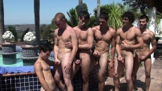 Young Studs Sebastian Keys, Jeremy Fox, Stefano Ricci, Larkin, Jake Lyons And Dex Carter Have Sex In The Pool