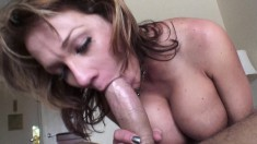 Charming blonde with amazing big tits has a long rod plowing her holes