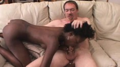 Slender Black Babe With Big Boobs And A Divine Ass Fucks A White Cock