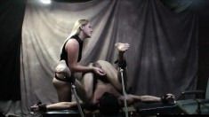Sultry blonde mistress Ashley Edmonds gives a kinky guy a wild handjob