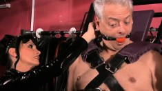 Lustful Old Man Gets Tied Up And Wrapped In Plastic By Two Mistresses