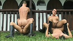 Four horny cowboys enjoy lots of hardcore anal sex in the outdoors