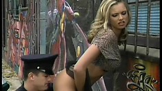 Insatiable blonde whore begs to get banged on the street by a hung cop