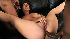 Satcked redhead cougar has two hard cocks drilling her fiery holes deep and rough