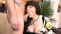 Slutty mum having her pussy drilled hard by the boyfriend of her daughter, what a slut!