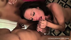 Lusty MILF shares a huge cock with a young college bombshell