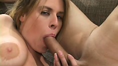 Nasty blonde mom gets busted up the ass by a raging pair of peckers