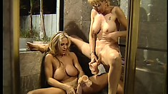 Big breasted blonde housewives having fun with dildos in the bathroom