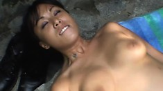 Beautiful Asian girl Avena Lee gets banged hard by a hung stud outside