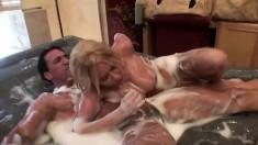 Riley Evans in a slip and slide full body massage before he fucks and she sucks