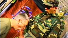 Army officers get rough and dirty on each other with some brutal anal