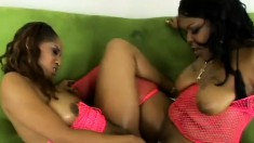 Ebony lesbians Suckable and Sunshine do it all with tongues and toys