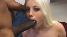 Hot blonde has a black guy fucking her twat and unloading in her mouth