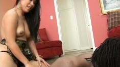 Hot Asian slut gobbles up a big black, fucks him, and sucks out his cum