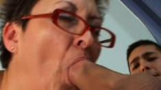 Granny is a cougar so she fucks and sucks both hard young cocks