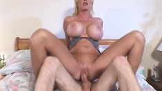 Busty as hell blonde bimbo gets herself a taste from a big dick