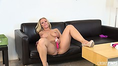 Austin Taylor slurps on the dildos getting them nice and wet for her snatch