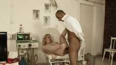 Curvy young blonde takes in her horny doctor's vicious cum gun