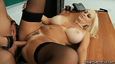 Brittany O'Neil gets her heart shaped pussy fucked on her desk