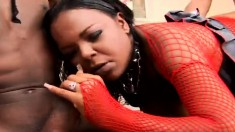 Big booty ebony chick in fishnets gets drilled hard by two black guys