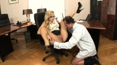 Sultry blonde secretary gets fucked hard and creampied in the office