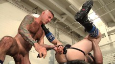 Sexy boy has a black dildo stretching his ass and screams with delight
