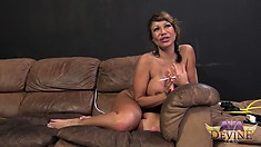 Ava's curvy body still trembles with pleasure as her face gets covered with cum