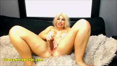 Crazy Blonde Red Eyes from Deepthroating BBC Dildo