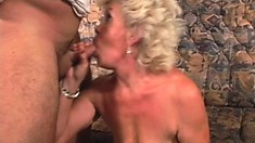 Slutty granny gets her hairy muff pounded by a massive schlong