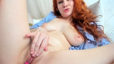 One of a kind close up masturbation of a sexy redhead