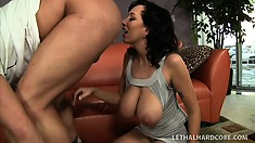 Big tittied MILF loves eating out her man's ass before he eats hers